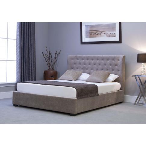 Emporia Kensington 4ft6 Double Stone Fabric Ottoman Bed