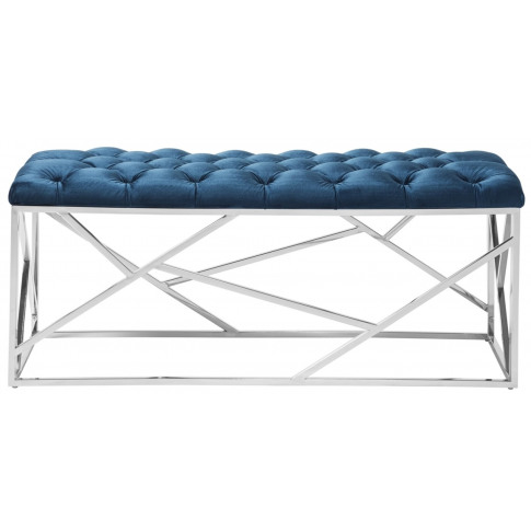 Zoey Blue With Silver Velvet Bench