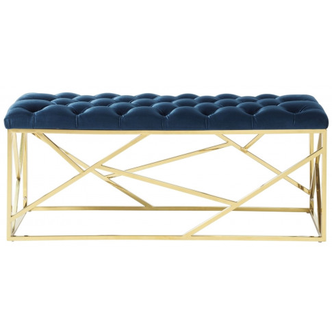 Zoey Blue With Gold Velvet Bench