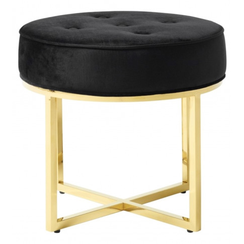 Lena Black With Gold Fabric Stool