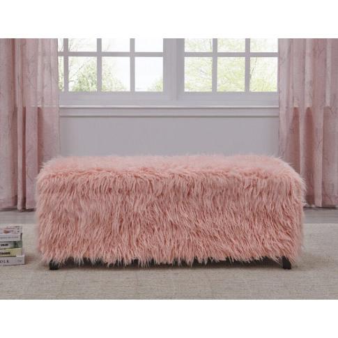 Pink Faux Sheepskin Ottoman