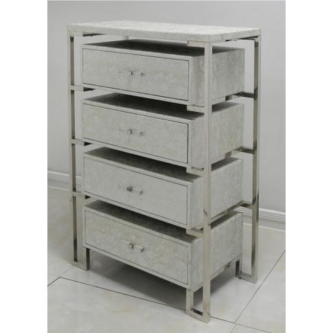 Alegra Silver Faux Snakeskin 4 Drawer Open Cabinet