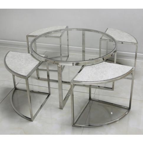 Alegra Silver Faux Snakeskin Coffee Table