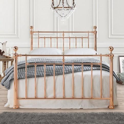 Alexander 5ft Kingsize Rose Gold Metal Bed
