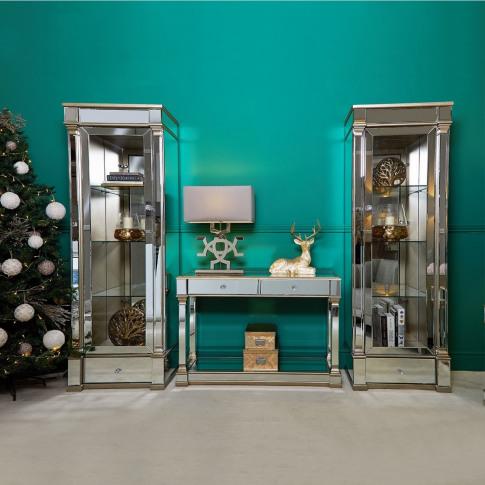 Alpha 1 Drawer 4 Shelf Champagne Mirrored Display Ca...