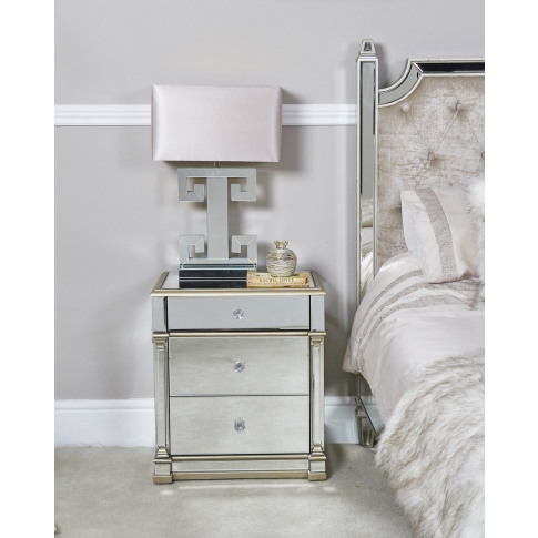 Alpha 3 Drawer Champagne Mirrored Cabinet