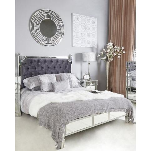 Alpha 5ft Kingsize Silver Mirrored Bed Frame