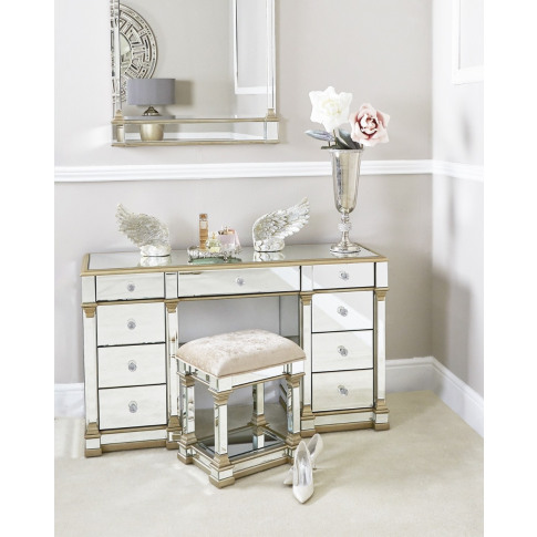 Alpha Champagne Mirrored Stool