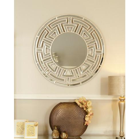 Alpha Champagne Round Wall Mirror