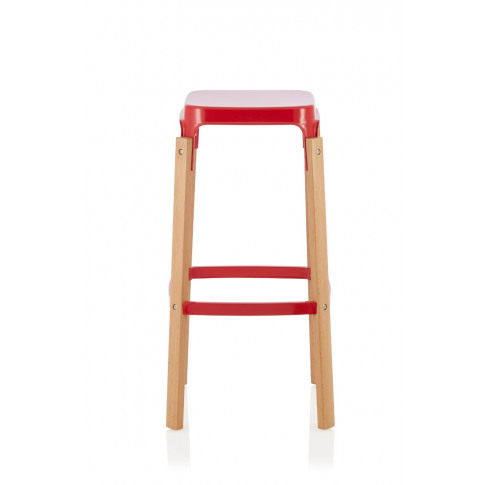 Amaranth Red 66cm Fixed Counter Height Glossy Barstool