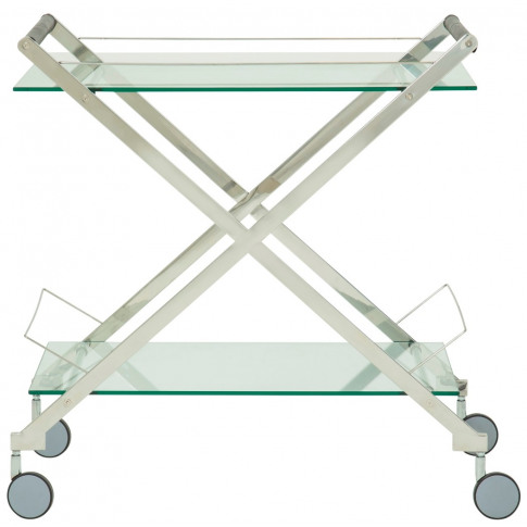 Angelina Glass Top With Silver Frame Drinks Trolley