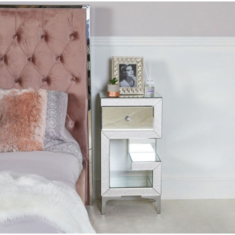 Aria 1 Drawer Left Facing Mirrored Bedside Cabinet