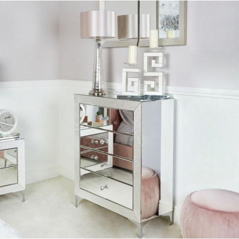 Aria 4 Drawer Mirrored Cabinet