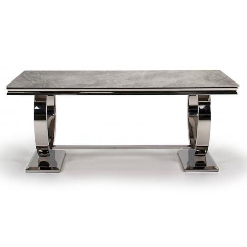 Arianna 180cm Grey Marble Dining Table
