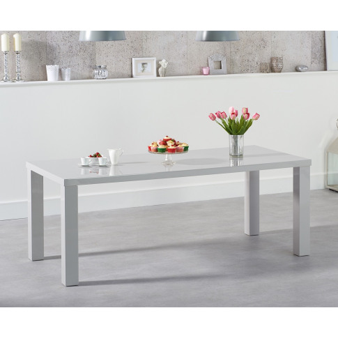 Ava 160cm Light Grey High Gloss Rectangular Dining T...