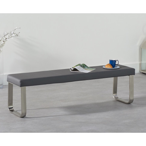 Ava 180cm Grey Faux Leather Large Bench