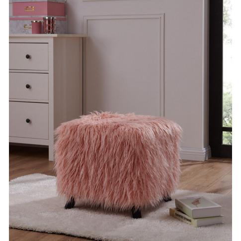 Pink Faux Sheepskin Cube Stool