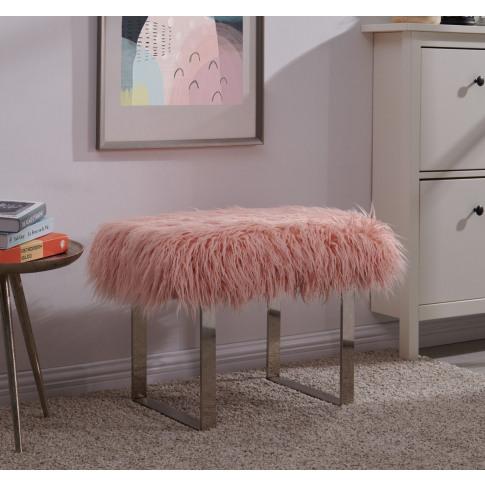 Pink Faux Sheepskin Bench