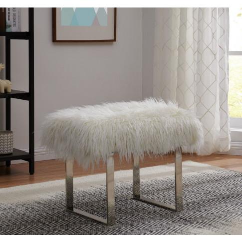 White Faux Sheepskin Bench