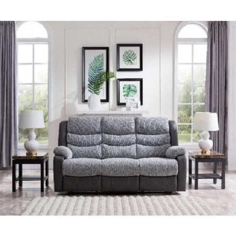 Bailey Grey Pu/ Fabric 3 Seater Recliner Sofa