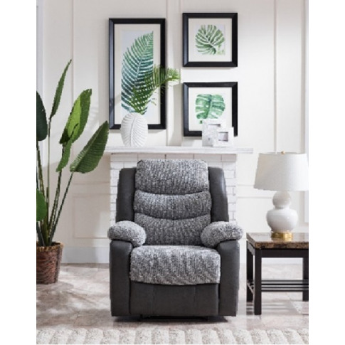 Bailey Grey Pu/ Fabric Recliner Armchair