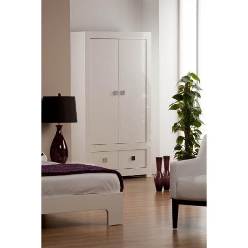 Bari White High Gloss 2 Door 2 Drawer Wardrobe