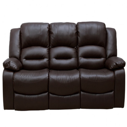 Barletto 3 Seater Fixed Brown Leather Sofa