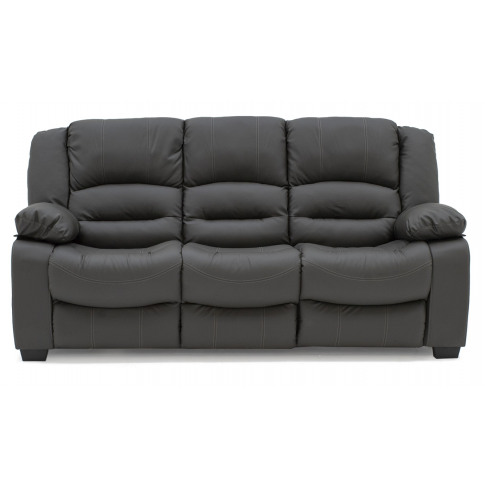 Barletto 3 Seater Grey Leather Fixed Sofa