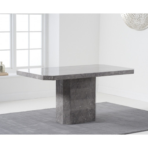 Becca 160cm Rectangular Grey Marble Dining Table