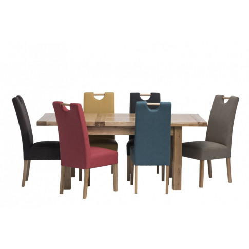 Belgravia 1.4m Ext. Oak Dining Table With 6 Kensington Mocha Leather Chair