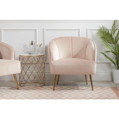 Bella Blush Pink Velvet Armchair