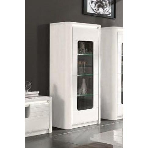 Bellini White High Gloss 1 Door Display Cabinet