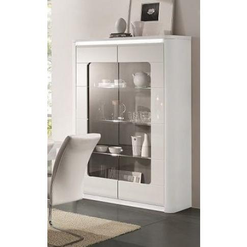 Bellini White High Gloss 2 Door Display Cabinet