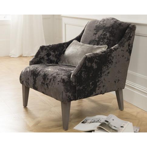 Belvedere Black Velvet Fabric Accent Chair