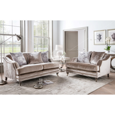 Belvedere 2 Seater Champagne Velvet Fabric Sofa With...