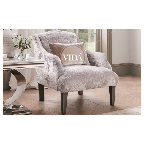 Belvedere Champagne Velvet Fabric Accent Chair