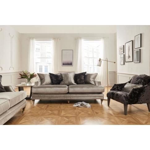 Belvedere 4 Seater Pewter Velvet Fabric Sofa With Sc...