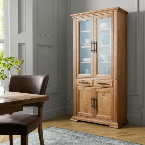 Bentley Designs Belgrave Rustic Oak Display Cabinet