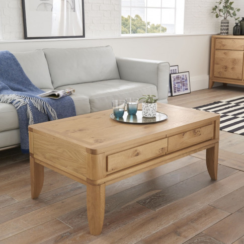 Bentley Designs High Park Oak Coffee Table With Drawers