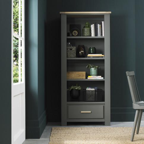 Bentley Designs Oakham Dark Grey & Scandi Oak Bookcase