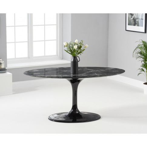 Brittney 160cm Oval Black Marble Effect Dining Table