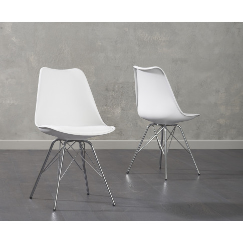Calabasus White Faux Leather Chrome Leg Dining Chair