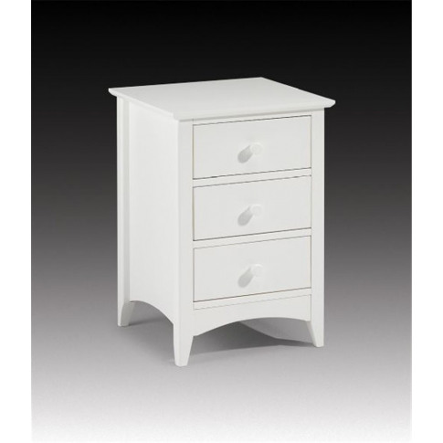 Julian Bowen Cameo 3 Drawer White Bedside Cabinet