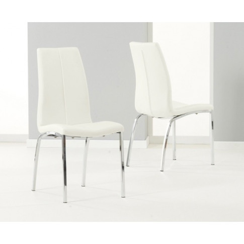 Carsen Cream Leather And Chrome Dining Chair