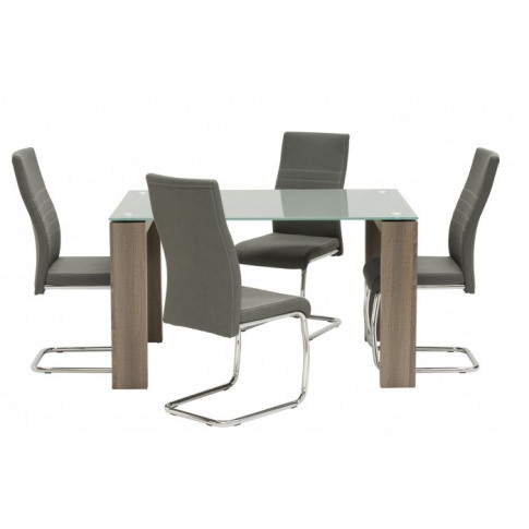 Casa Grey Glass 130cm Rect Dining Table With 4 Taupe...