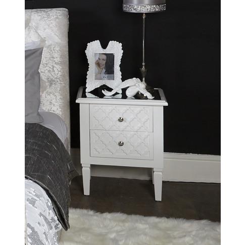 Casabella White Wooden 2 Drawer Bedside Cabinet
