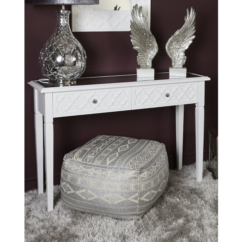 Casabella White Wooden 2 Drawer Console Table