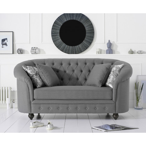 Casey Chesterfield Grey 2 Seater Fabric Sofa