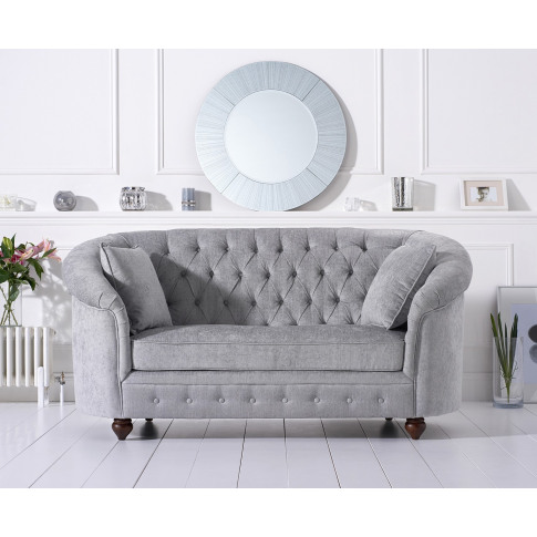 Casey Chesterfield Grey Plush 2 Seater Fabric Sofa