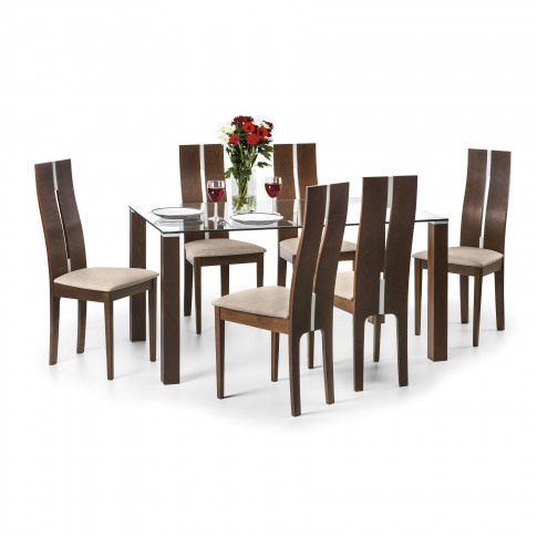 Julian Bowen Cayman Clear Glass Dining Table And 6 Cayman Chairs